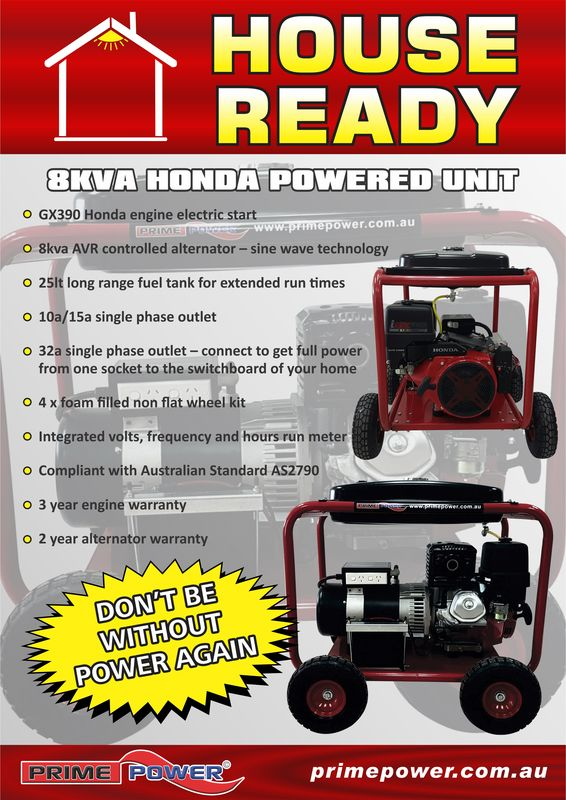 Honda Powered 8Kva Electric Start Generator